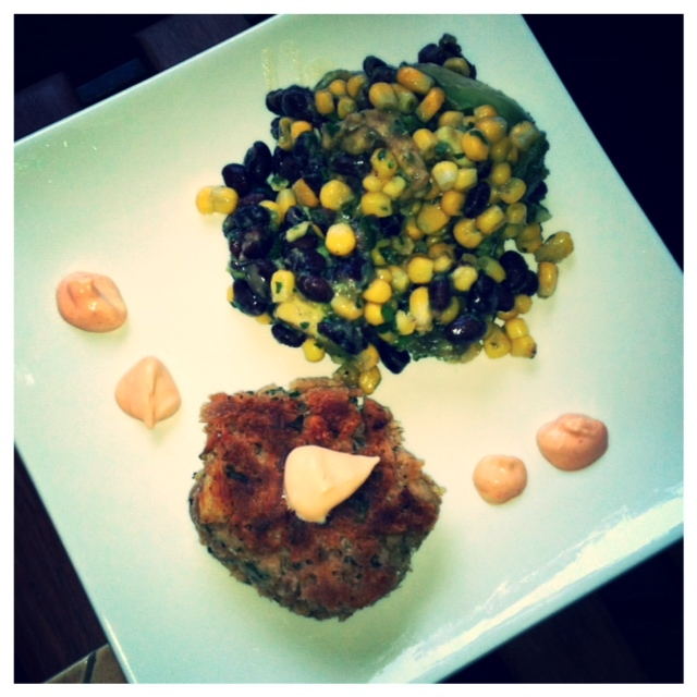 Tuna Cakes With A Black Bean, Corn and Avocado Salad