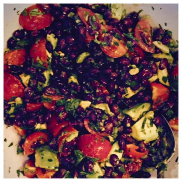 Black Bean, Avocado, Cherry Tomato & Jalapeno Salad