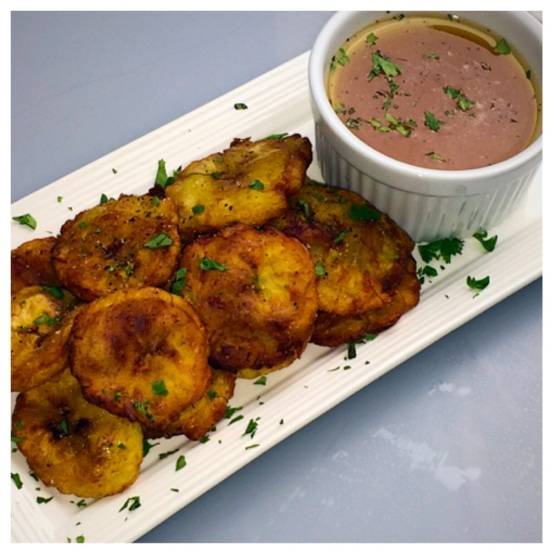 Tostones:  Twice Fried, Cumin Dusted Plaintains with Peach, Orange, Honey & Cilantro Dipping Sauce