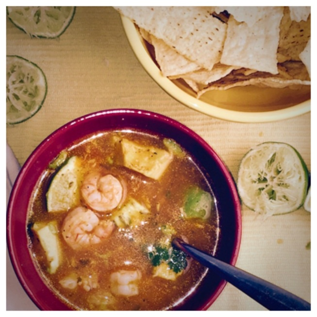 Spicy Shrimp & Lime Soup with Avocado