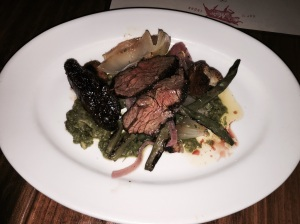Hanger Steak, Asparagus, Charred Vidalia Onion, Migas and romesco verde