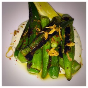 Charred Okra with Ramp Ranch